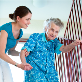 Caregiver helping the elder