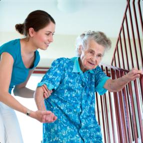 Caregiver helping the elder