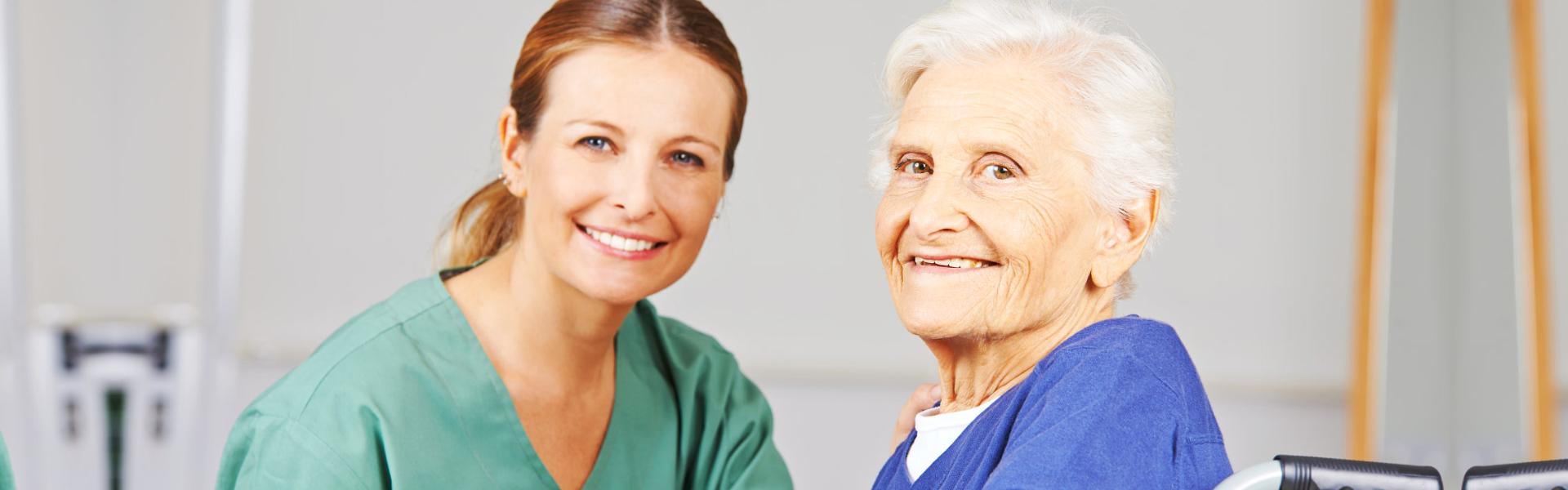 Elder and Caregiver Smiling