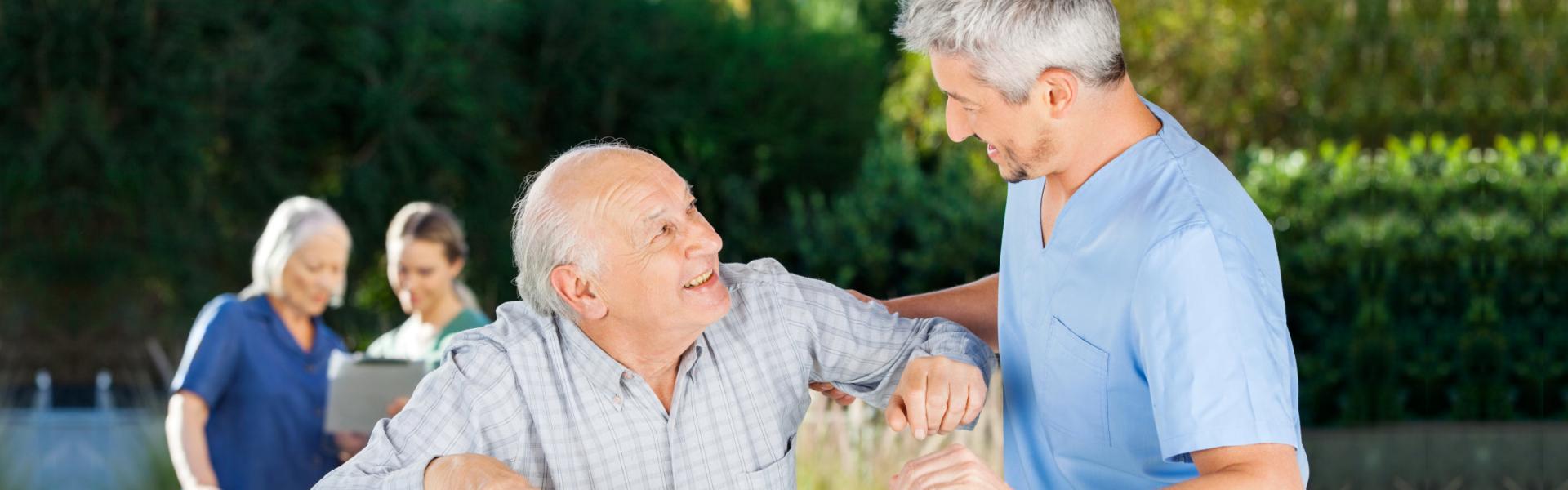 Caregiver talking to elder