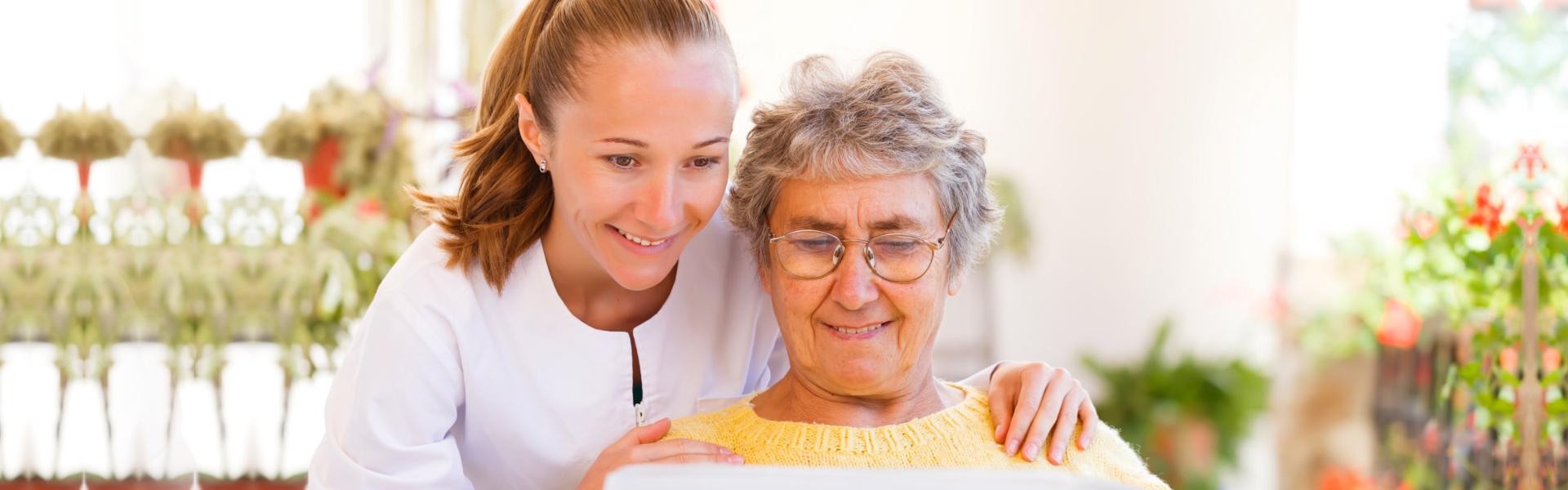 Caregiver and elder reading